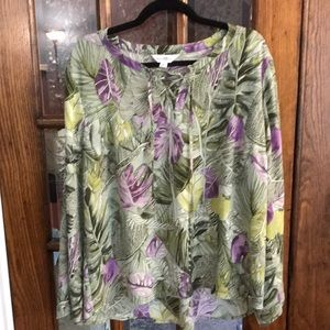 Lovely Topical green and purple blouse